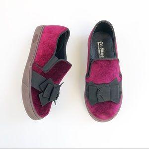 Other - Maroon velvet-feel shoes Toddler Girls sz 12c EUC